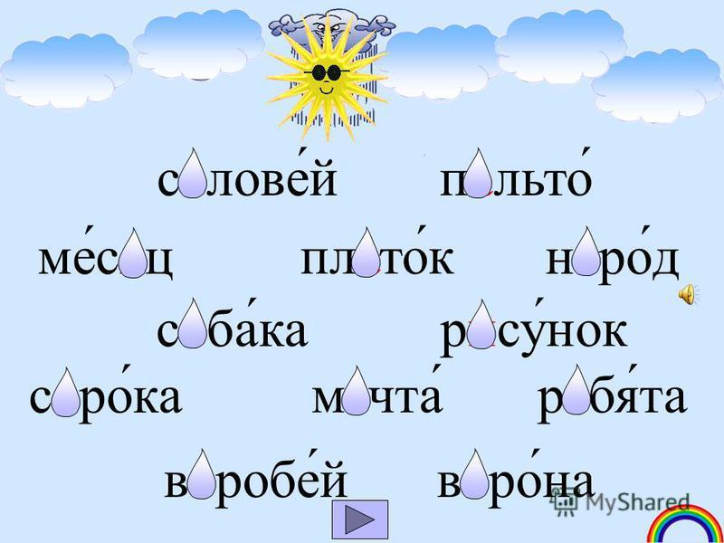 Высуши капельки 2 класс Русский язык Тренажёр