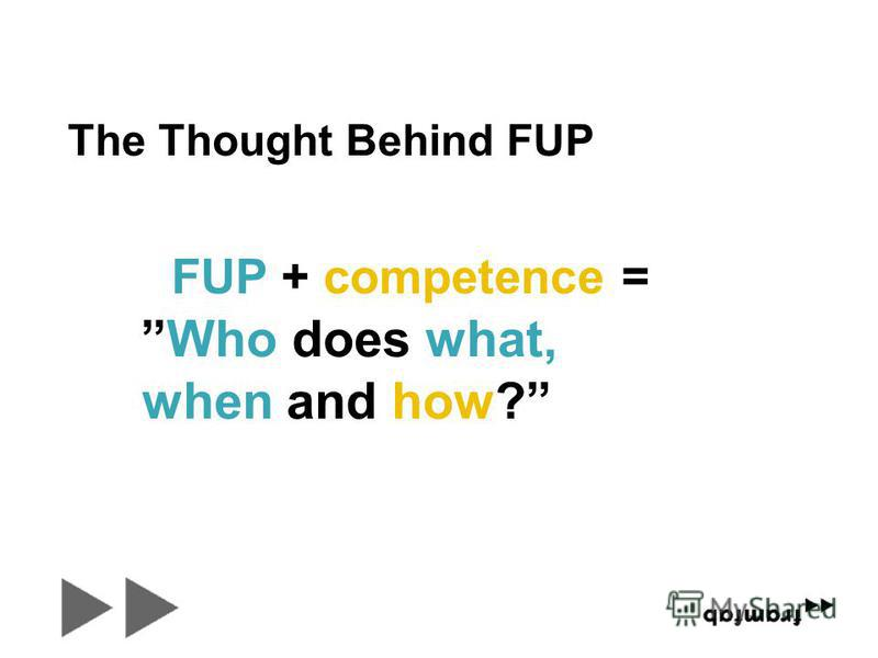 Who does what, when and how? FUP + competence = The Thought Behind FUP