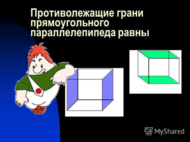 Противолежащие грани прямоугольного параллелепипеда равны