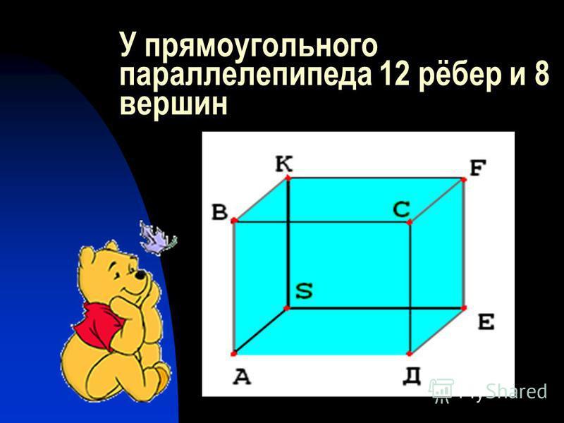 У прямоугольного параллелепипеда 12 рёбер и 8 вершин
