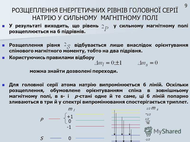 РОЗЩЕПЛЕННЯ ЕНЕРГЕТИЧНИХ РІВНІВ ГОЛОВНОЇ СЕРІЇ НАТРІЮ У СИЛЬНОМУ МАГНІТНОМУ ПОЛІ У результаті виходить, що рівень у сильному магнітному полі розщеплюється на 6 підрівнів. У результаті виходить, що рівень у сильному магнітному полі розщеплюється на 6