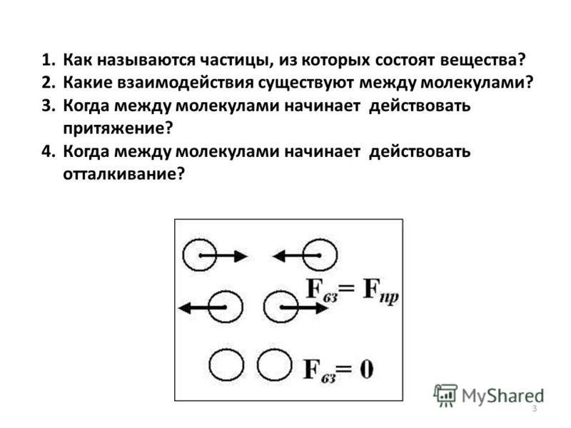 1. Как называются частицы, из которых состоят вещества? 2. Какие взаимодействия существуют между молекулами? 3. Когда между молекулами начинает действовать притяжение? 4. Когда между молекулами начинает действовать отталкивание? 3