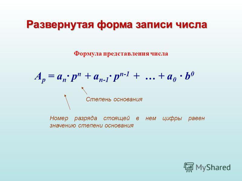 А p = a n · p п + a n-1 · p п-1 + … + a 0 · b 0 Формула представления числа Развернутая форма записи числа Степень основания Номер разряда стоящей в нем цифры равен значению степени основания