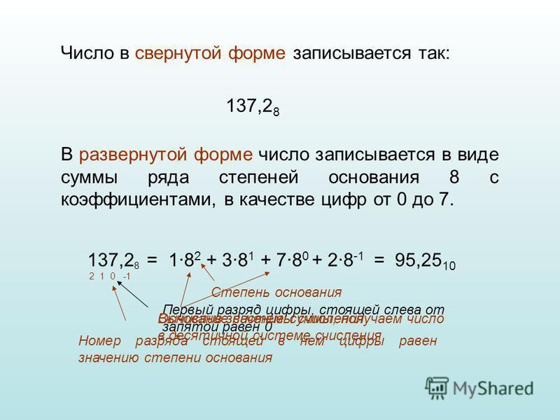 В развернутой форме число записывается в виде суммы ряда степеней основания 8 с коэффициентами, в качестве цифр от 0 до 7. Число в свернутой форме записывается так: 137,2 8 137,2 8 = 1·8 2 + 3·8 1 + 7·8 0 + 2·8 -1 Номер разряда стоящей в нем цифры ра