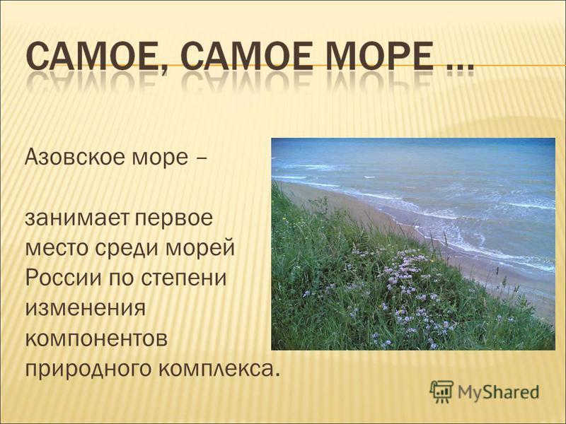 Азовское море – занимает первое место среди морей России по степени изменения компонентов природного комплекса.