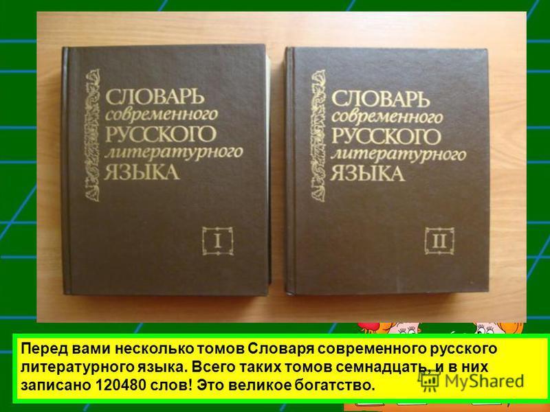 Перед вами несколько томов Словаря современного русского литературного языка. Всего таких томов семнадцать, и в них записано 120480 слов! Это великое богатство.