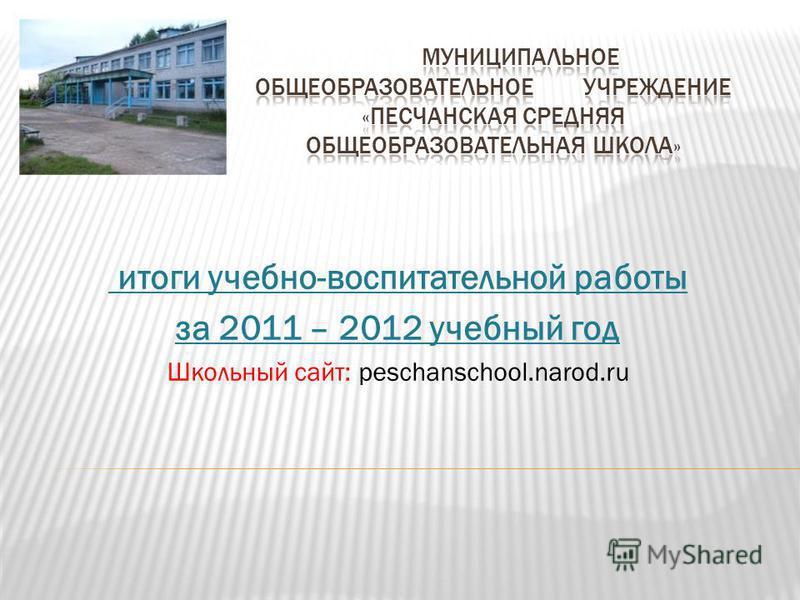 итоги учебно-воспитательной работы за 2011 – 2012 учебный год Школьный сайт: peschanschool.narod.ru