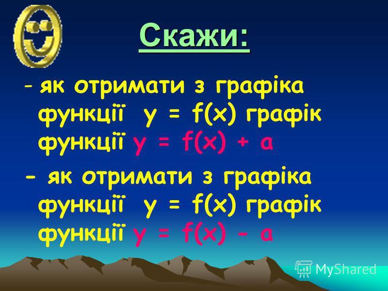 Скажи: - як отримати з графіка функції у = f(x) графік функції у = f(x) + а - як отримати з графіка функції у = f(x) графік функції у = f(x) - а