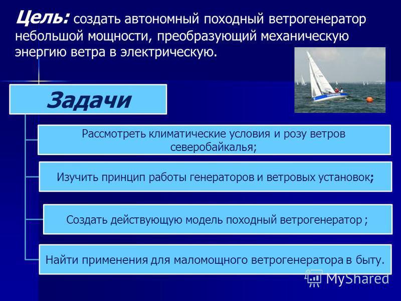 Цель: создать автономный походный ветрогенератор небольшой мощности, преобразующий механическую энергию ветра в электрическую. Задачи Рассмотреть климатические условия и розу ветров северобайкалья; Изучить принцип работы генераторов и ветровых устано