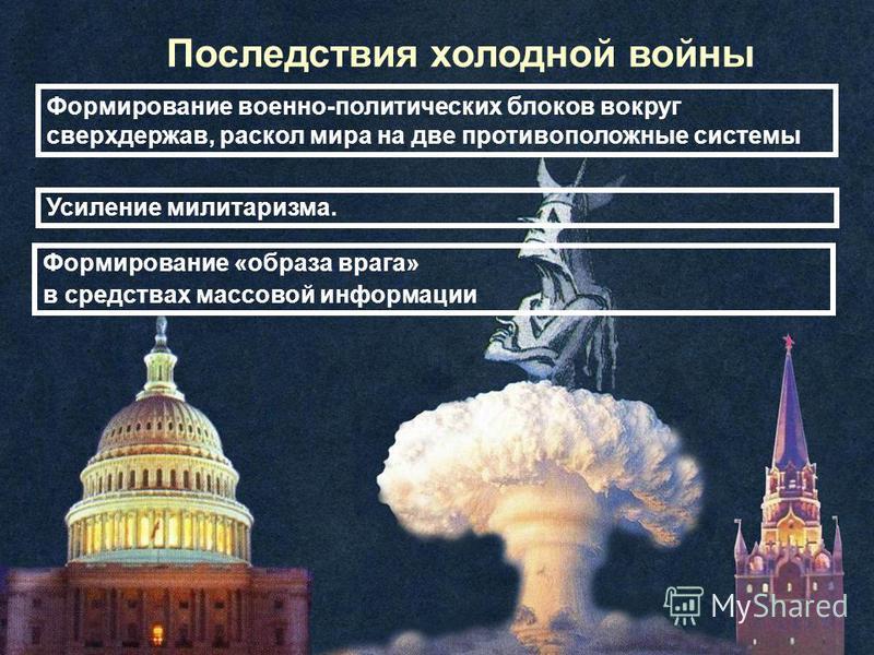 Последствия холодной войны Формирование военно-политических блоков вокруг сверхдержав, раскол мира на две противоположные системы Усиление милитаризма. Формирование «образа врага» в средствах массовой информации