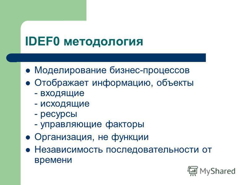IDEF0 методология Моделирование бизнес-процессов Отображает информацию, объекты - входящие - исходящие - ресурсы - управляющие факторы Организация, не функции Независимость последовательности от времени