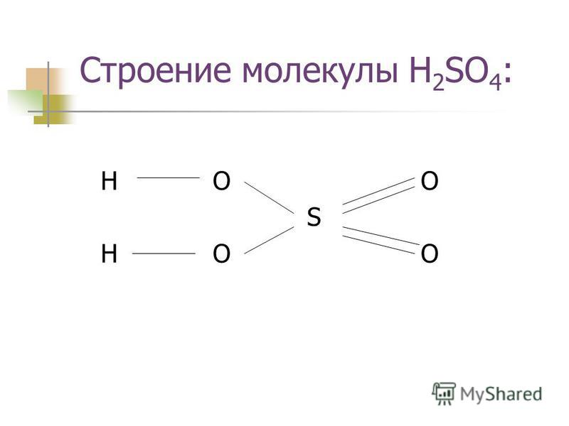 Строение молекулы H 2 SO 4 : H OO S H OO