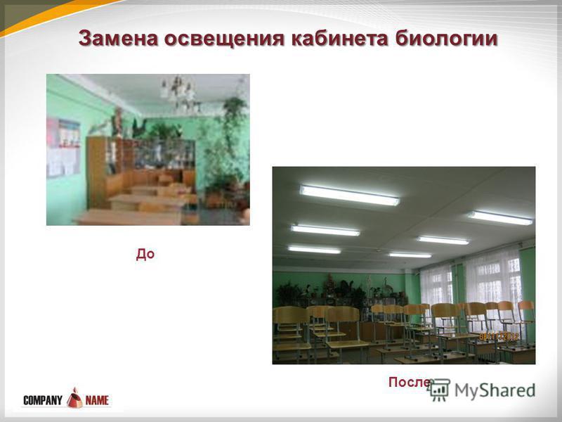 Замена освещения кабинета биологии До После