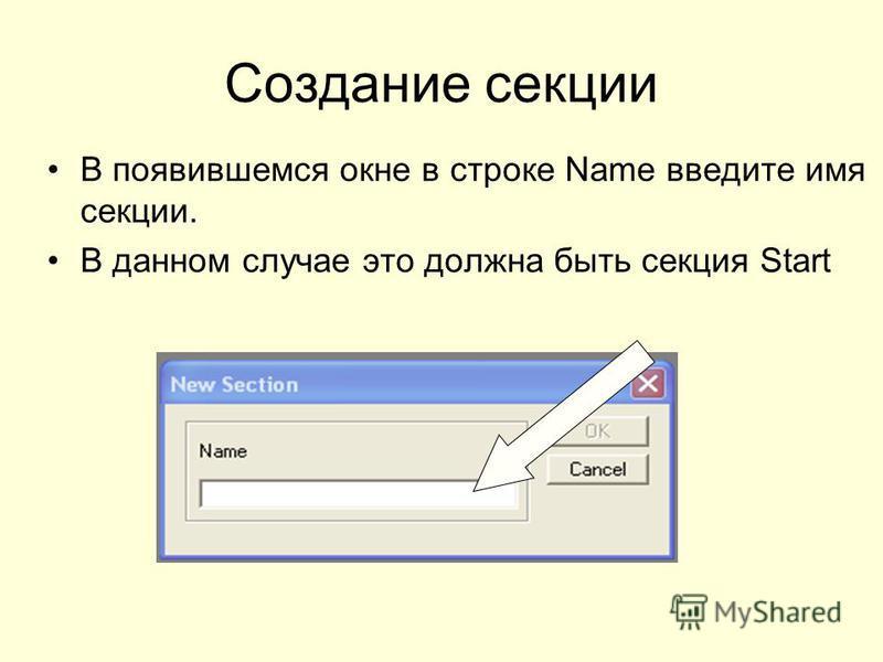 Создание секции В появившемся окне в строке Name введите имя секции. В данном случае это должна быть секция Start