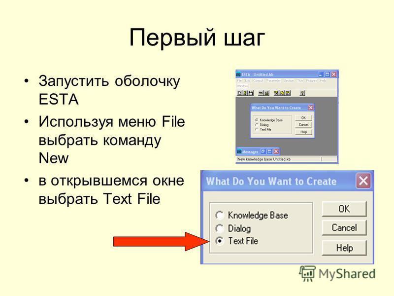 Первый шаг Запустить оболочку ESTA Используя меню File выбрать команду New в открывшемся окне выбрать Text File