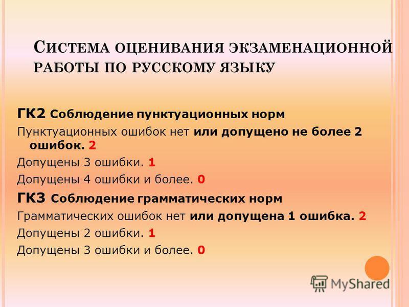С ИСТЕМА ОЦЕНИВАНИЯ ЭКЗАМЕНАЦИОННОЙ РАБОТЫ ПО РУССКОМУ ЯЗЫКУ ГК2 Соблюдение пунктуационных норм Пунктуационных ошибок нет или допущено не более 2 ошибок. 2 Допущены 3 ошибки. 1 Допущены 4 ошибки и более. 0 ГК3 Соблюдение грамматических норм Грамматич