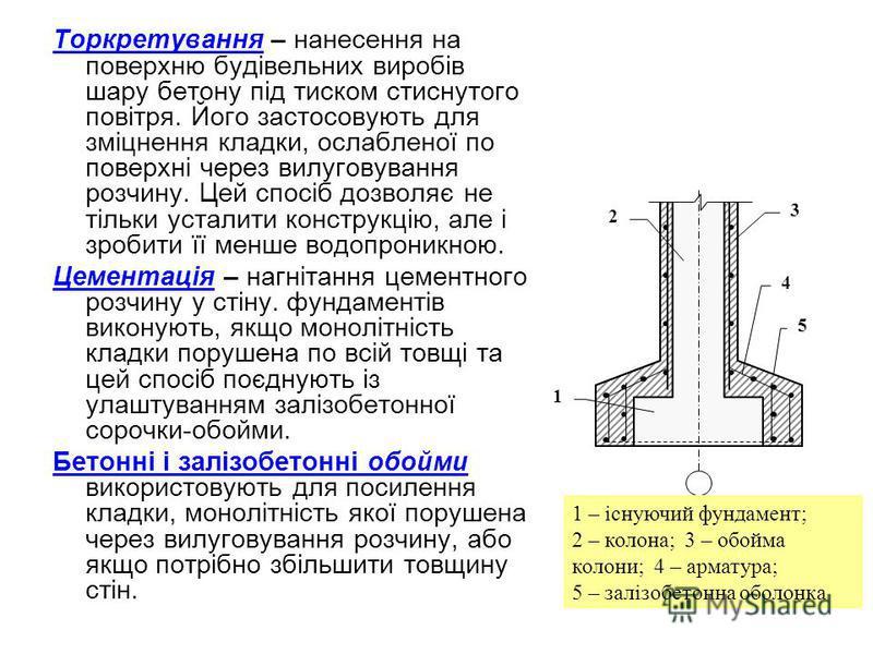 Торкретування – нанесення на поверхню будівельних виробів шару бетону під тиском стиснутого повітря. Його застосовують для зміцнення кладки, ослабленої по поверхні через вилуговування розчину. Цей спосіб дозволяє не тільки усталити конструкцію, але і
