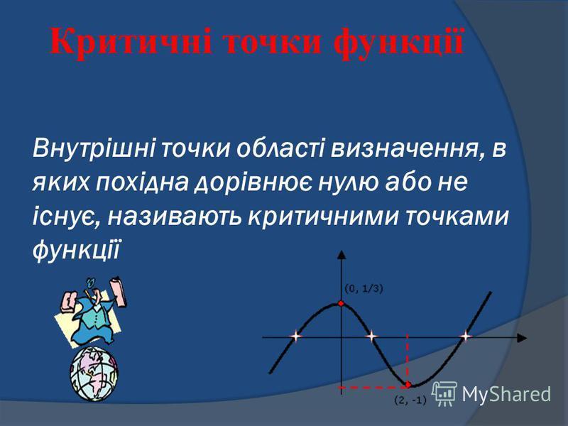 Внутрішні точки області визначення, в яких похідна дорівнює нулю або не існує, називають критичними точками функції Критичні точки функції