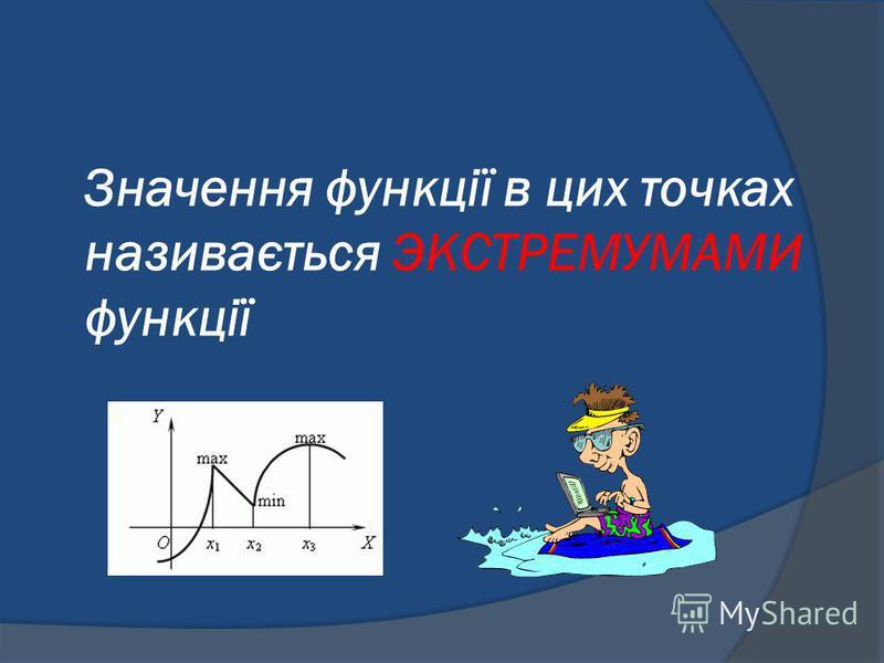 Значення функції в цих точках називається ЭКСТРЕМУМАМИ функції