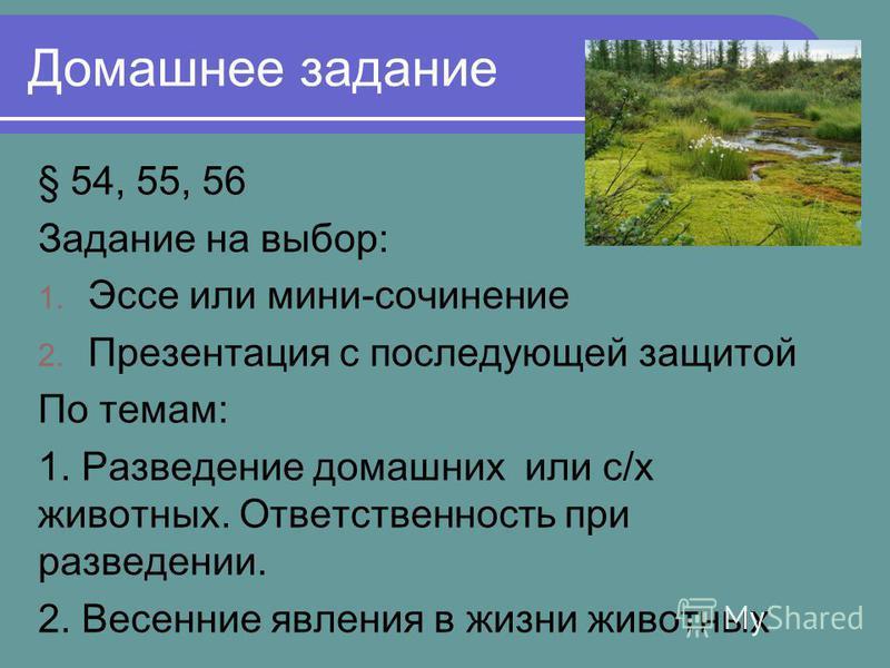 Домашнее задание § 54, 55, 56 Задание на выбор: 1. Эссе или мини-сочинение 2. Презентация с последующей защитой По темам: 1. Разведение домашних или с/х животных. Ответственность при разведении. 2. Весенние явления в жизни животных
