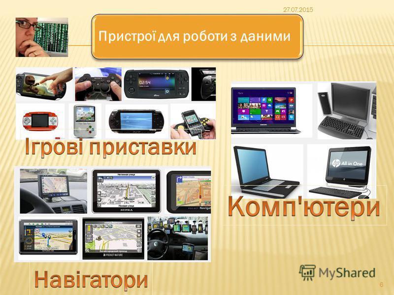 Пристрої для роботи з даними 27.07.2015 6
