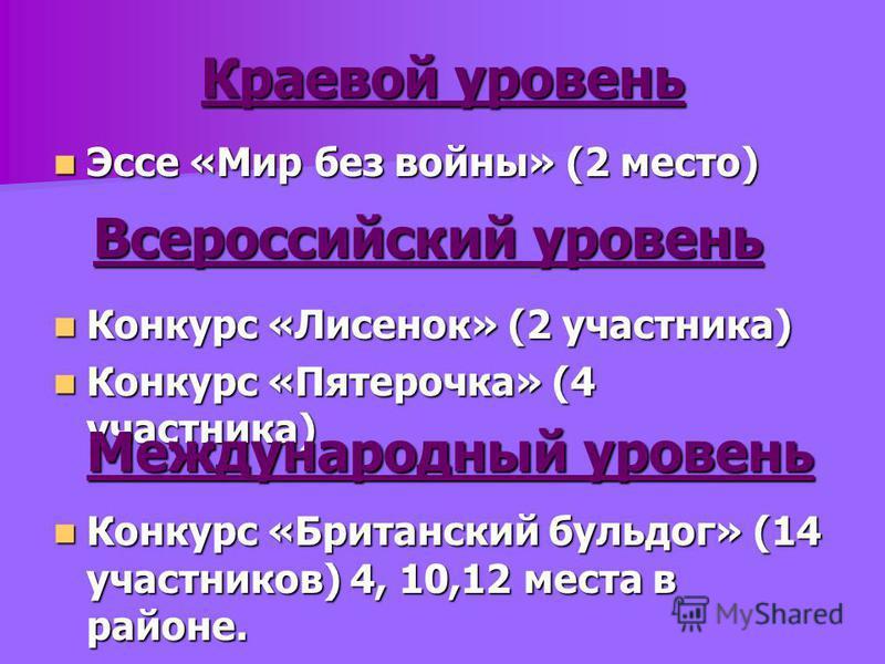 Краевой уровень Эссе «Мир без войны» (2 место) Эссе «Мир без войны» (2 место) Всероссийский уровень Конкурс «Лисенок» (2 участника) Конкурс «Лисенок» (2 участника) Конкурс «Пятерочка» (4 участника) Конкурс «Пятерочка» (4 участника) Международный уров