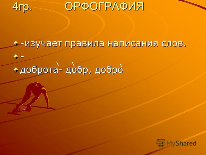 4 гр. ОРФОГРАФИЯ -изучает правила написания слов. - доброта- добр, добро