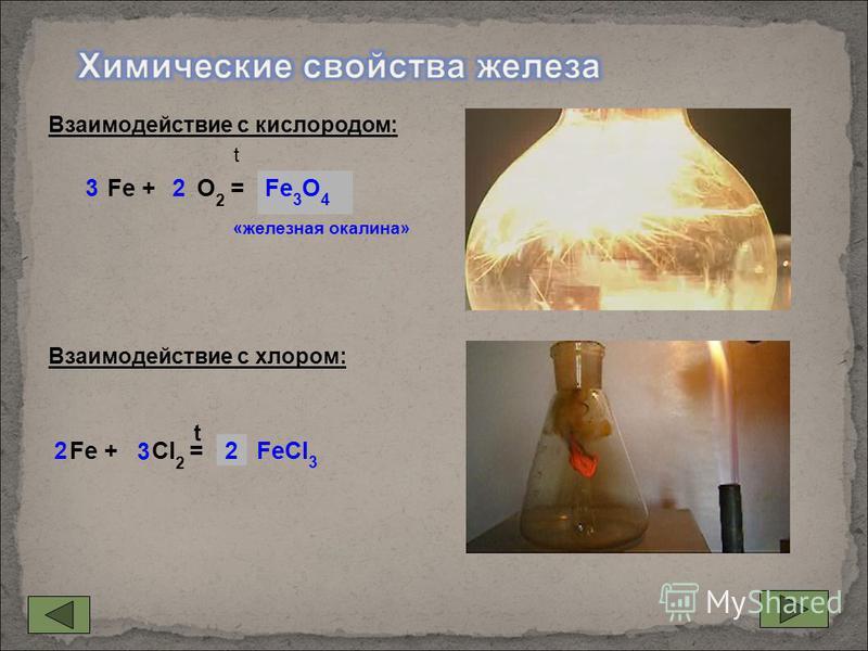 Fe + O 2 =... Fe + Cl 2 =... Fe 3 O 4 «железная окалина» FeCl 3 23 2 3 t Взаимодействие с кислородом: Взаимодействие с хлором: t 2