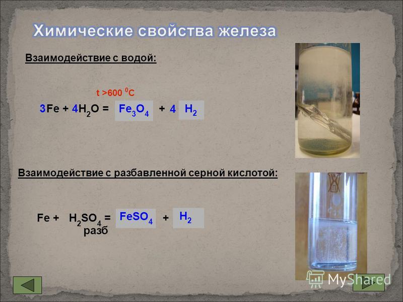 Fe + H 2 O =... +... Fe + H 2 SO 4 = … + раза FeSO 4 H2 H2 H2 H2 Fe 3 O 4 34 4 t >600 0 С Взаимодействие с водой: Взаимодействие с разаавленной серной кислотой: