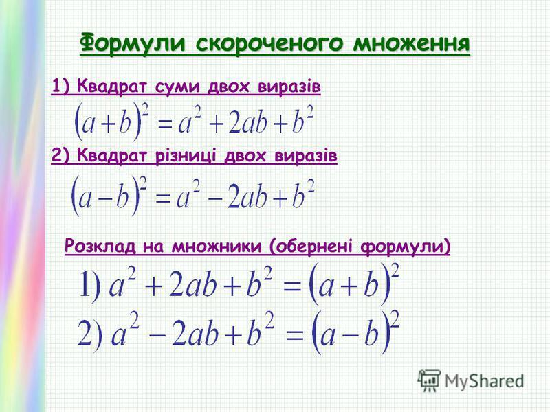Формули скороченого множення 1) Квадрат суми двох виразів 2) Квадрат різниці двох виразів Розклад на множники (обернені формули)