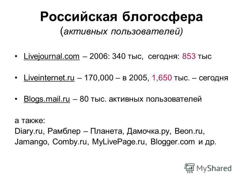 Российская блогосфера ( активных пользователей) Livejournal.com – 2006: 340 тыс, сегодня: 853 тыс Liveinternet.ru – 170,000 – в 2005, 1,650 тыс. – сегодня Blogs.mail.ru – 80 тыс. активных пользователей а также: Diary.ru, Рамблер – Планета, Дамочка.ру