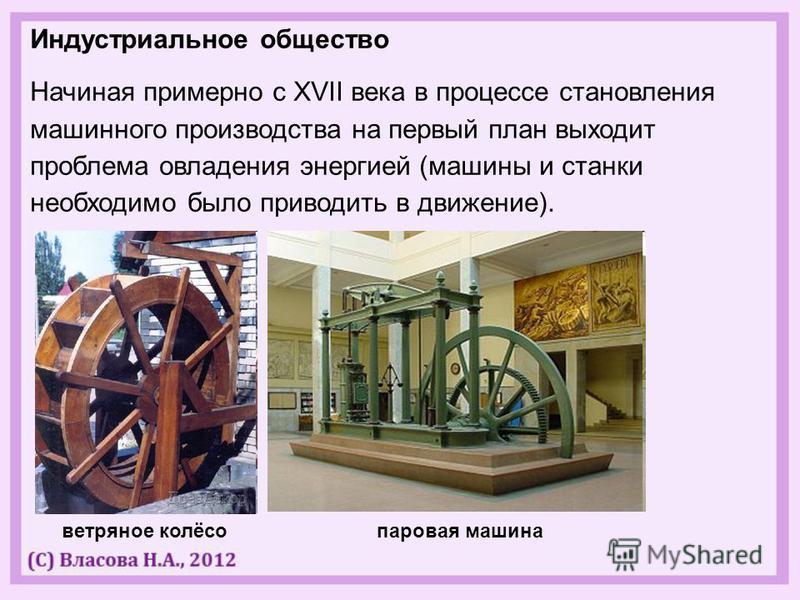 Индустриальное общество Начиная примерно с XVII века в процессе становления машинного производства на первый план выходит проблема овладения энергией (машины и станки необходимо было приводить в движение). ветряное колёсо паровая машина