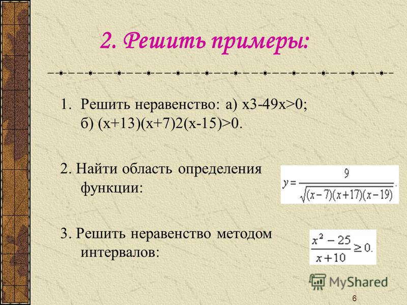 6 2. Решить примеры: 1. Решить неравенство: а) х 3-49 х>0; б) (х+13)(х+7)2(х-15)>0. 2. Найти область определения функции: 3. Решить неравенство методом интервалов: