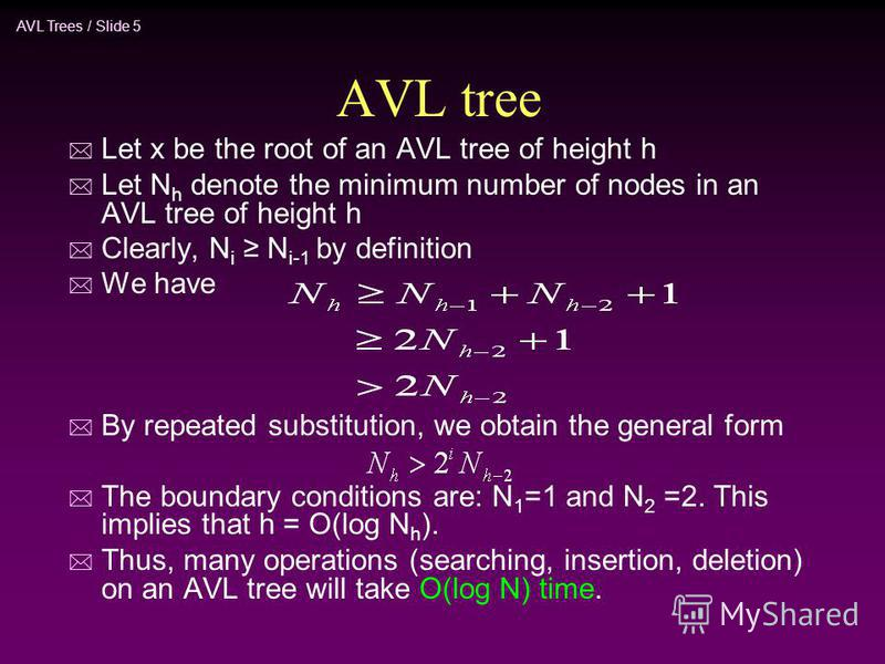 AVL Trees / Slide 5 AVL tree * Let x be the root of an AVL tree of height h * Let N h denote the minimum number of nodes in an AVL tree of height h * Clearly, N i N i-1 by definition * We have * By repeated substitution, we obtain the general form *