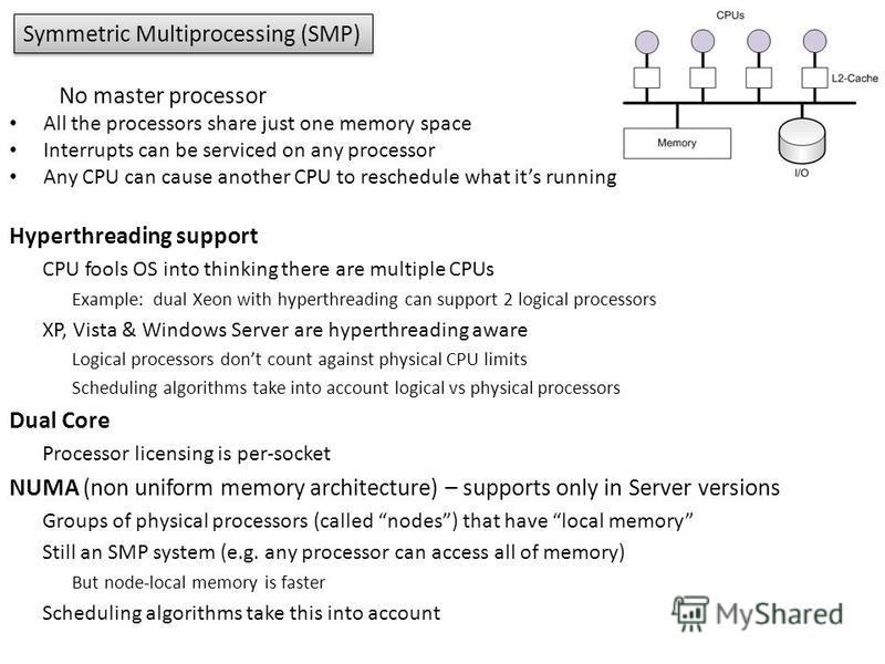 Symmetric Multiprocessing (SMP) No master processor All the processors share just one memory space Interrupts can be serviced on any processor Any CPU can cause another CPU to reschedule what its running Hyperthreading support CPU fools OS into think