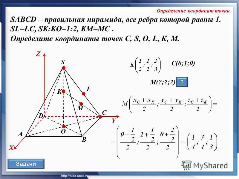 O К А В С D S L X Y Z Y М C(0;1;0) M(?;?;?) ? SABCD – правильная пирамида, все ребра которой равны 1. SL=LC, SK:KO=1:2, KM=MC. Определите координаты точек C, S, O, L, К, M. Определение координат точки. Задачи