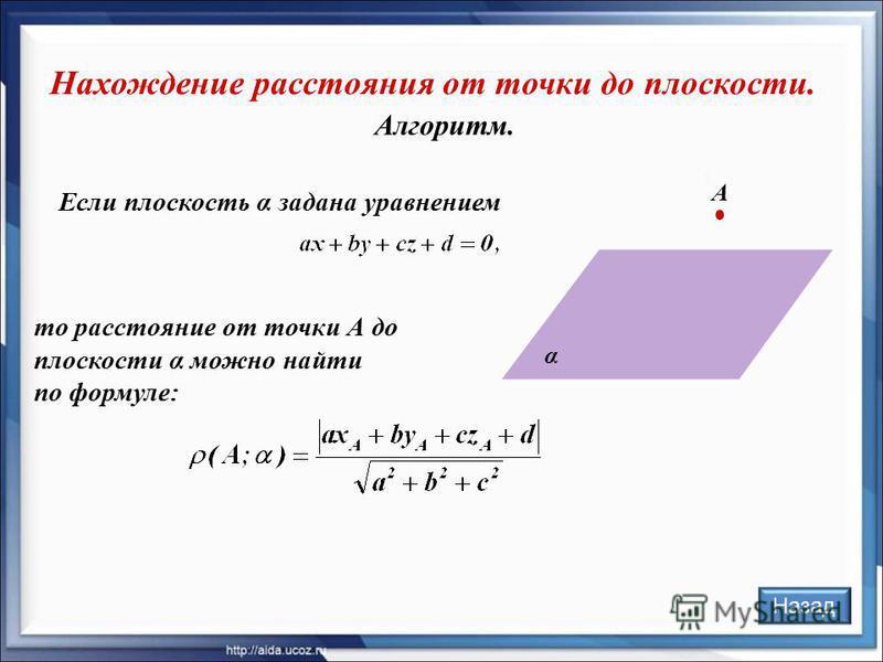 Алгоритм. Нахождение расстояния от точки до плоскости. Назад А α Если плоскость α задана уравнением то расстояние от точки А до плоскости α можно найти по формуле: