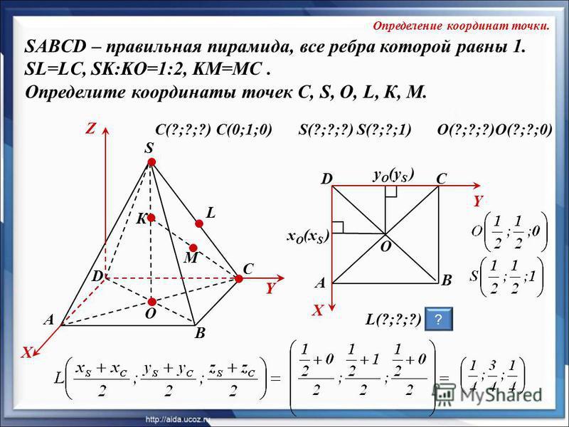 O К А SABCD – правильная пирамида, все ребра которой равны 1. SL=LC, SK:KO=1:2, KM=MC. Определите координаты точек C, S, O, L, К, M. В С D S L X Y Z Y М S(?;?;?)C(?;?;?)C(0;1;0)S(?;?;1) X Y O y O (y S ) L(?;?;?) x O (x S ) D А В С ? Определение коорд