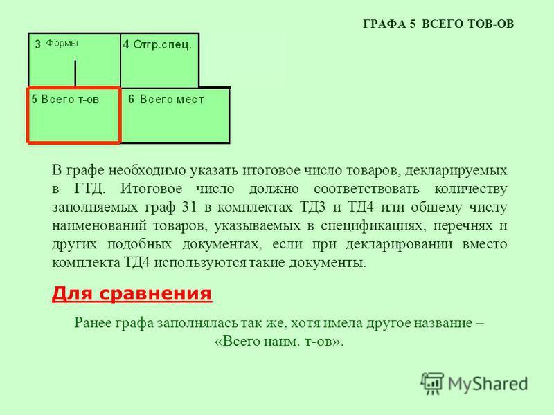 ГРАФА 5 ВСЕГО ТОВ-ОВ В графе необходимо указать итоговое число товаров, декларируемых в ГТД. Итоговое число должно соответствовать количеству заполняемых граф 31 в комплектах ТД3 и ТД4 или общему числу наименований товаров, указываемых в спецификация