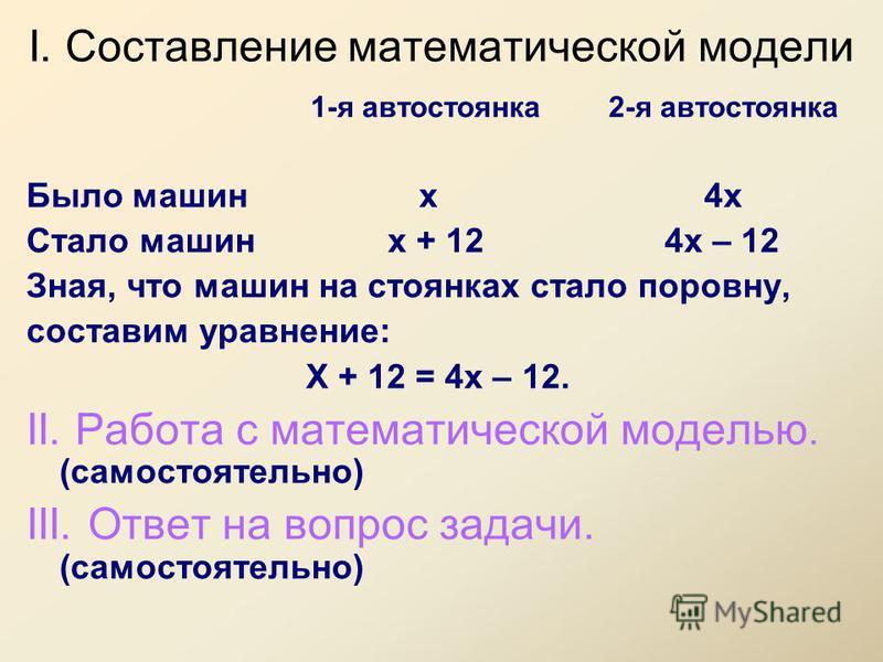 I. Составление математической модели 1-я автостоянка 2-я автостоянка Было машин х 4 х Стало машин х + 12 4 х – 12 Зная, что машин на стоянках стало поровну, составим уравнение: Х + 12 = 4 х – 12. II. Работа с математической моделью. (самостоятельно)