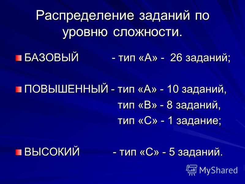 Распределение заданий по уровню сложности. БАЗОВЫЙ - тип «А» - 26 заданий; ПОВЫШЕННЫЙ - тип «А» - 10 заданий, тип «В» - 8 заданий, тип «В» - 8 заданий, тип «С» - 1 задание; тип «С» - 1 задание; ВЫСОКИЙ - тип «С» - 5 заданий.