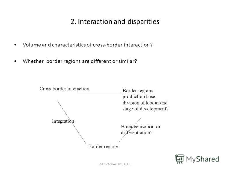 2. Interaction and disparities Volume and characteristics of cross-border interaction? Whether border regions are different or similar? Cross-border interaction Border regions: production base, division of labour and stage of development? Border regi