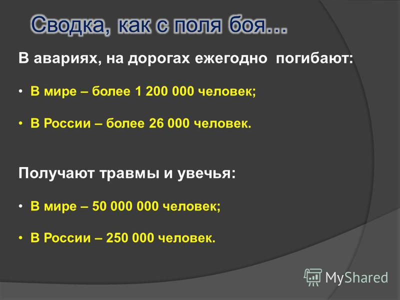 В авариях, на дорогах ежегодно погибают: В мире – более 1 200 000 человек; В России – более 26 000 человек. Получают травмы и увечья: В мире – 50 000 000 человек; В России – 250 000 человек.