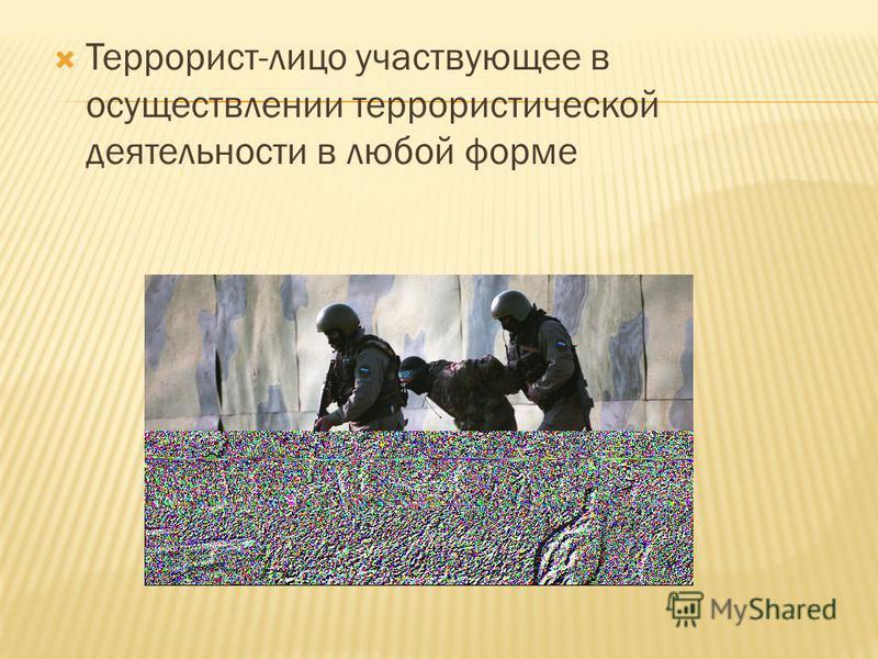 Террорист-лицо участвующее в осуществлении террористической деятельности в любой форме