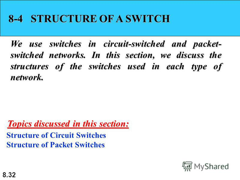 8.32 8-4 STRUCTURE OF A SWITCH We use switches in circuit-switched and packet- switched networks. In this section, we discuss the structures of the switches used in each type of network. Structure of Circuit Switches Structure of Packet Switches Topi