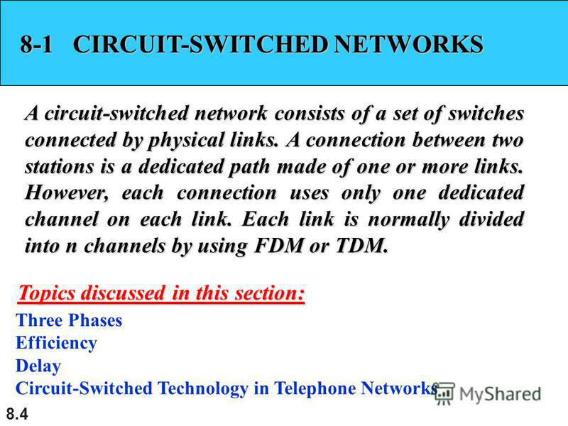 8.4 8-1 CIRCUIT-SWITCHED NETWORKS A circuit-switched network consists of a set of switches connected by physical links. A connection between two stations is a dedicated path made of one or more links. However, each connection uses only one dedicated