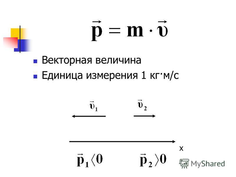 Векторная величина Единица измерения 1 кг·м/c х