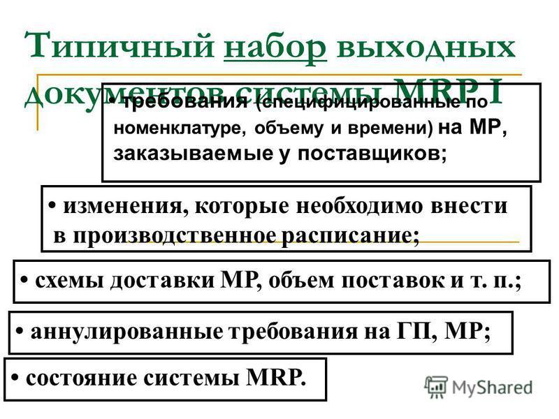 Алгоритмы программного комплекса MRP I переводят спрос на ГП в требуемый общий объем исходных МР, вычисляют цепь требований на исходные МР, полуфабрикаты, объем НП ( на основе информации о соответствующем уровне запасов ), размещают заказы на объемы