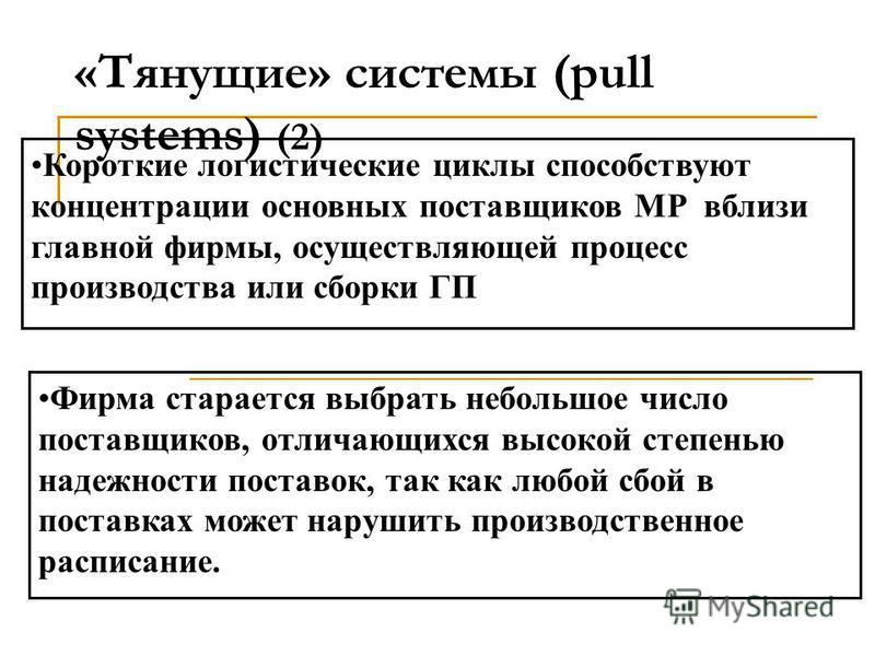 «Тянущие» системы (pull systems) (1) Размещение заказов на пополнение запасов МР или ГП происходит при достижении их критического уровня в определенных звеньях логистической системы Запасы «вытягиваются» по распределительным каналам от поставщиков МР