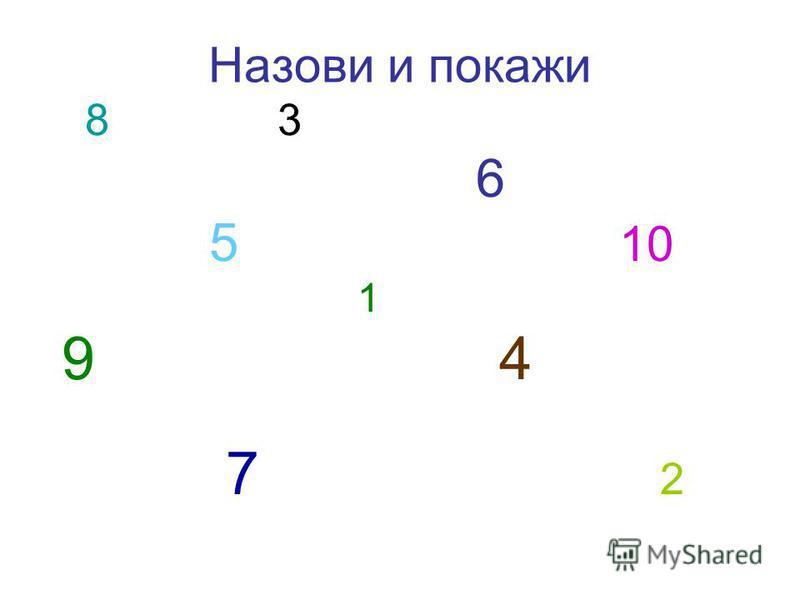 Назови и покажи 8 3 6 5 10 1 9 4 7 2